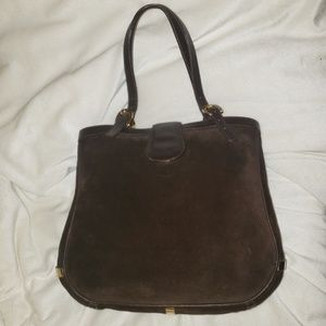 Vintage Gucci Brown Suede Leather Tote